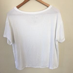 89e4a53d American Eagle Outfitters Tops - AMERICAN EAGLE V NECK TEE CROPPED WHITE  SOFT LOOSE